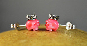 Hand Carved Pink Coral Skulls Wearing Sterling Silver Crowns, Stud Earrings