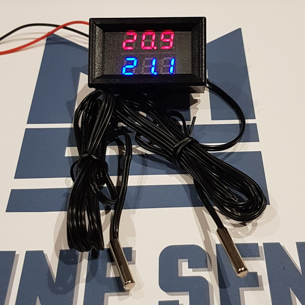 Dual temperature Gauge, Digital LED Thermometer x 2 Temperature Sensors. - Mainline Sensors
