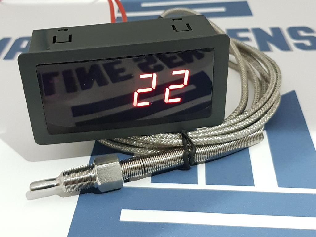 Water/Oil, Fluid Temperature Gauge. 5 Meter K type Sensor Cable. - Mainline Sensors