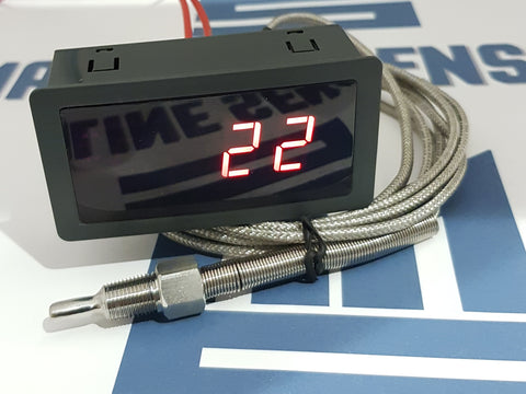 Water/Oil, Fluid Temperature Gauge. 3 Meter K type Sensor Cable. - Mainline Sensors