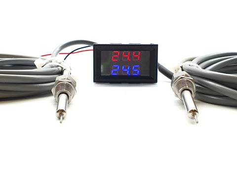 "Dual Intercooler Supercharger Digital Temperature Gauge Sensor 1/8"" NPT - Mainline Sensors"