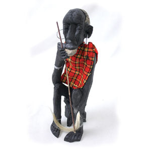 African Wooden Statue Village Elder Hand Carved