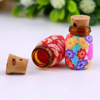 Bottle: 10 Aromatherapy mini 1 ml clay/glass painted with cork top. Special