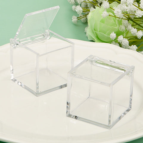 Box: Clear Plastic with hinged Lid 1.5in x 1.5 in.