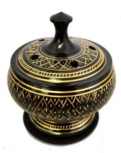 Burner: Brass Carved for Resin, Smudge or Incense Burning. (Smudge Pot)