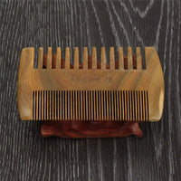 Comb: Wooden Beard and Mustache Comb Double Sided.