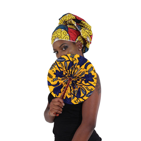 African Folding Fan  (Folds up to fit in purse or bag) Free Shipping