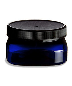 Jar: Square Blue Plastic 4 oz.