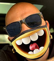 Face Mask: Designer Funny Big Mouth, No Teeth or Skeleton Mouth. Adult Size (Free Shipping)
