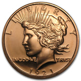 Peace Dollar Copper Round Coin (Packed in clear Protective capsule)