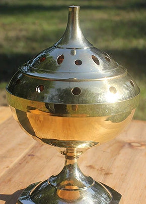 Brass Incense Burner: Charcoal Censor 7 in tall (Free Shipping)