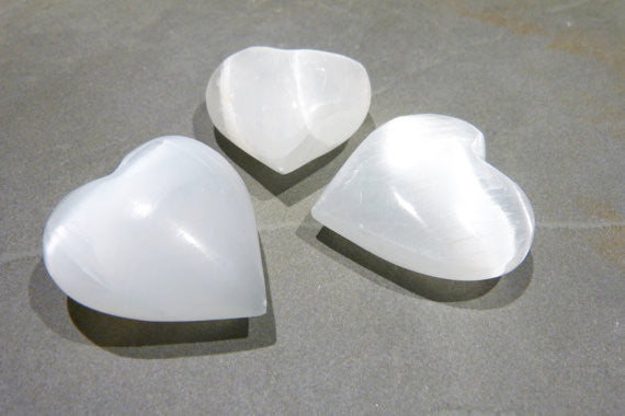 Stone: Selenite Gemstone Carving Small 1.5-inch Heart White