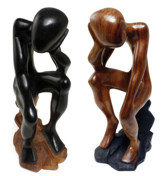 African Wooden Thinker Statue