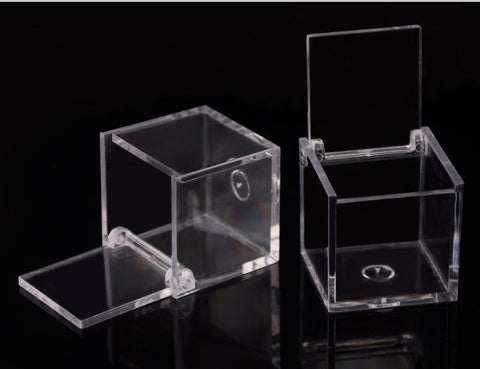 Box: Clear Plastic with hinged Lid 1.75in x 1.75 in.