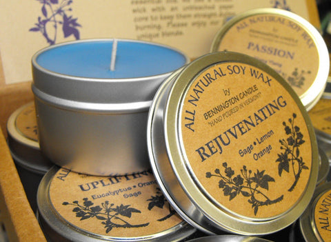 Candle Sale: Aromatherapy with Essential Oil in Metal Tins (also available in Glass Jars)