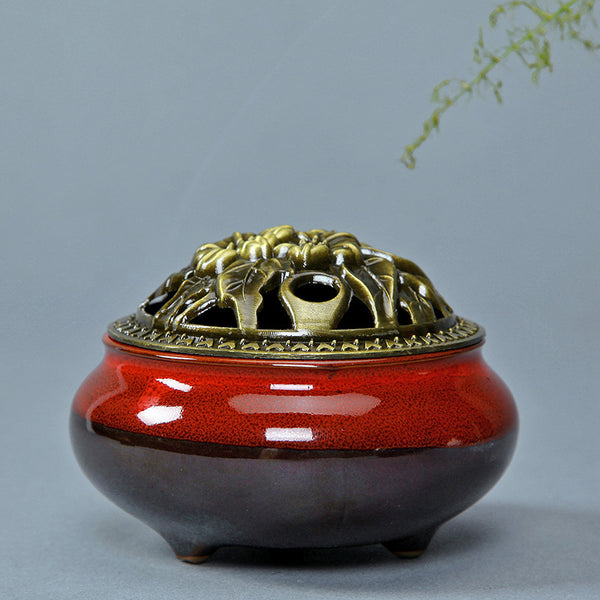 Burner: Ceramic Burner Red with Lid