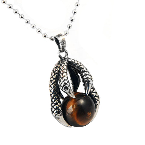 Dragon Claw Stone Pendant (Tiger Eye)