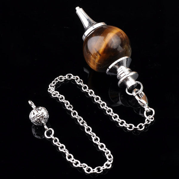 Pendulum: Tigereye sphere with Silver Chain