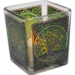 Candle Holder: Square Voltive Glass Holder with Candle Included Chakra (Free Shipping)