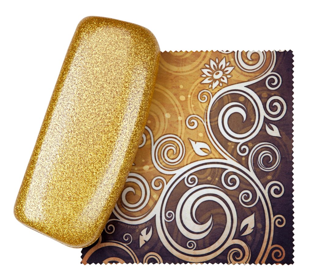 Goddess Gold Medium Premium Fashion Women's Hard Eyeglasses Case By Spunky Soul | Glitter Gold | Free Bonus Cleaning Cloth |