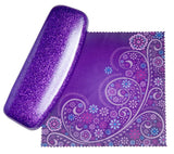 Mystic Purple Premium Fashion Women's Hard Eyeglasses Case By Spunky Soul | Glitter Purple | Bonus Cleaning Cloth