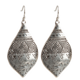 Bohemian Hammered & Engraved Silver Earrings