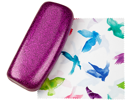 Passion Pinkish Purple Medium Premium Fashion Women's Hard Eyeglasses Case By Spunky Soul | Glitter Hot Pink | Free Bonus Cleaning Cloth