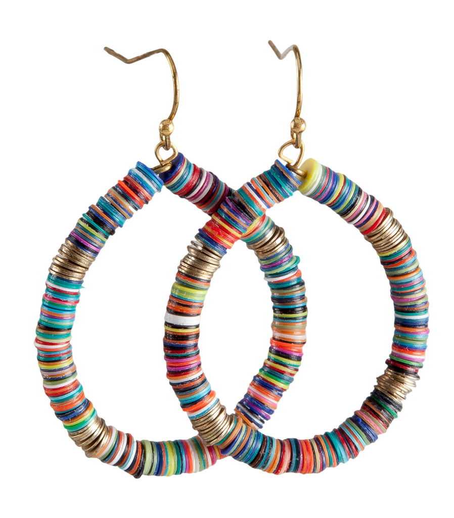Bohemian Multi-Colored Sequin Hoop Gold Earrings