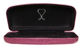 Poetic Pink Premium Fashion Women's Hard Eyeglasses Case | Bonus Cleaning Cloth