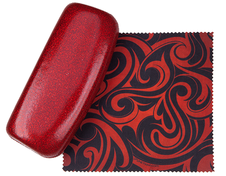 Ruby Red Medium Premium Fashion Women's Hard Eyeglasses Case By Spunky Soul | Glitter Red | Free Bonus Cleaning Cloth
