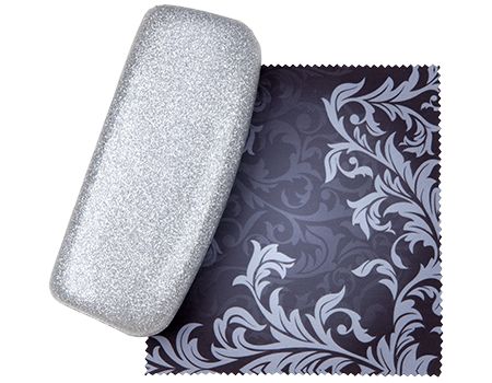Silver Diamond Elegance Premium Fashion Women's Hard Eyeglasses Case By Spunky Soul | Glitter Purple | Bonus Cleaning Cloth