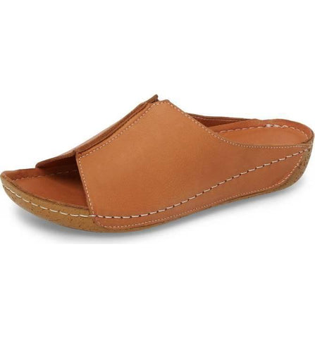 Alexa Leather Slide in Cognac