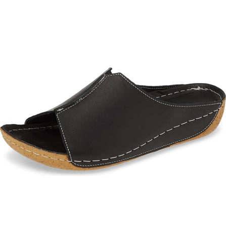 Alexa Leather Slide in Black