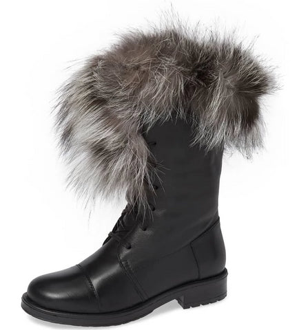 Jam Leather Bootie with Fox Fur Trim