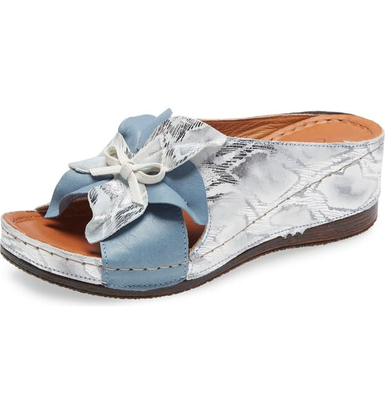 KAYLIE WEDGE SLIDE SANDAL - BLUE