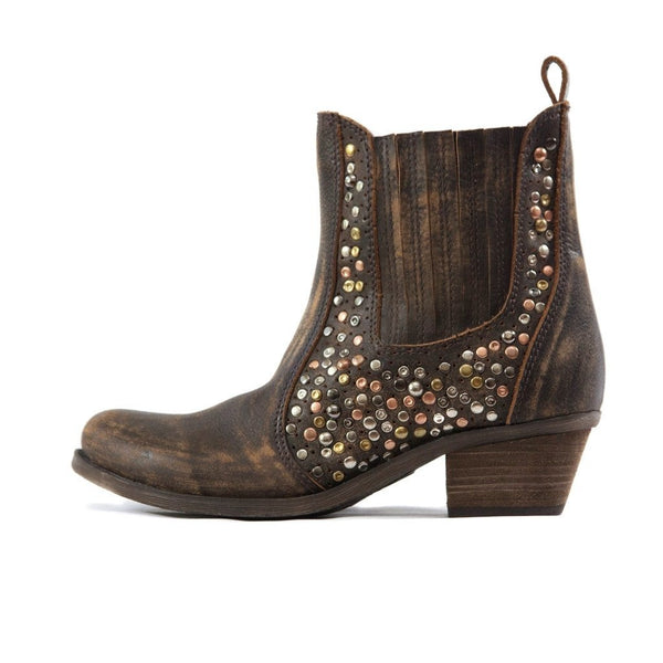 STUDDED SALSA DISTRESSED LEATHER BOOTIE - SIZE 39
