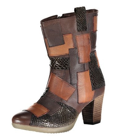 Sensation Brown Patchwork Leather Boot
