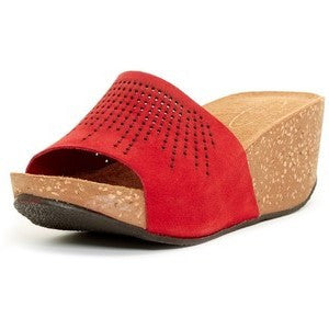 """Delano"" Cork Platform Wedge in Red"