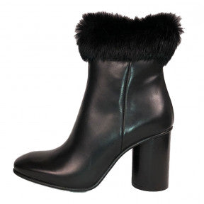 LOBO Leather and Fur Topped Bootie