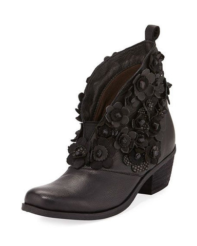 SAFI Black Flowered Leather Bootie - SIZE 36 AVAILABLE