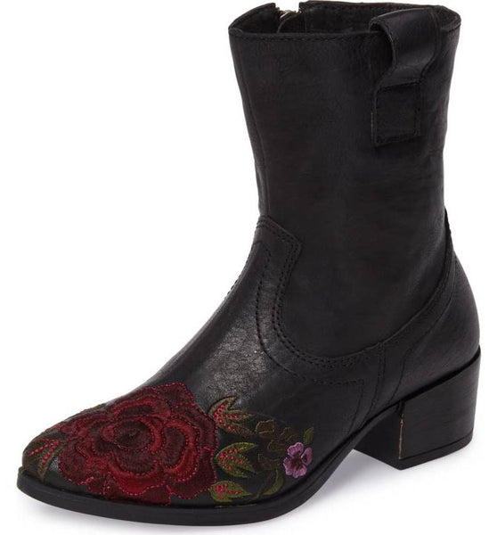 SHALLOT Floral Embroidered Bootie
