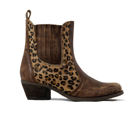 "Leopard Print and Brown Leather ""Siren"" Bootie"