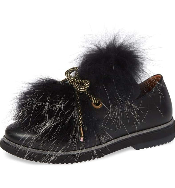 TIMOTHEE WITH FOX FUR TRIM - BLACK