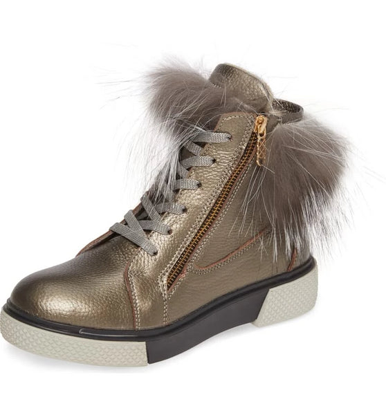 TOAST Sneaker Bootie with Fur in Pewter