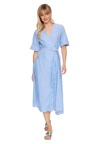 Cobalt Stripe Wrap Dress