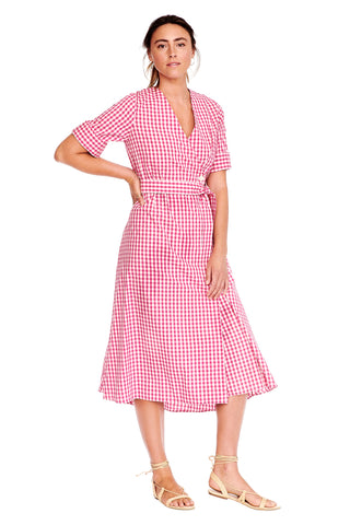 Pink Check Wrap Dress