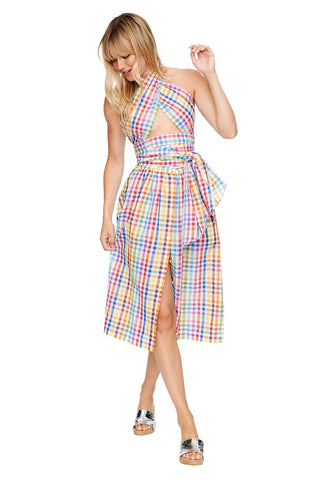 Rainbow Check Side Slit Skirt