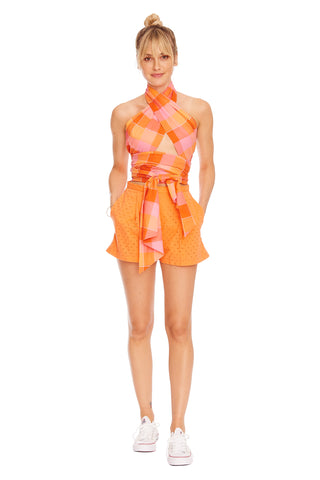 Orange Eyelet Pleated Short