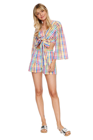 Rainbow Check Pleated Short