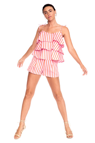Pink Stripe Pleated Short